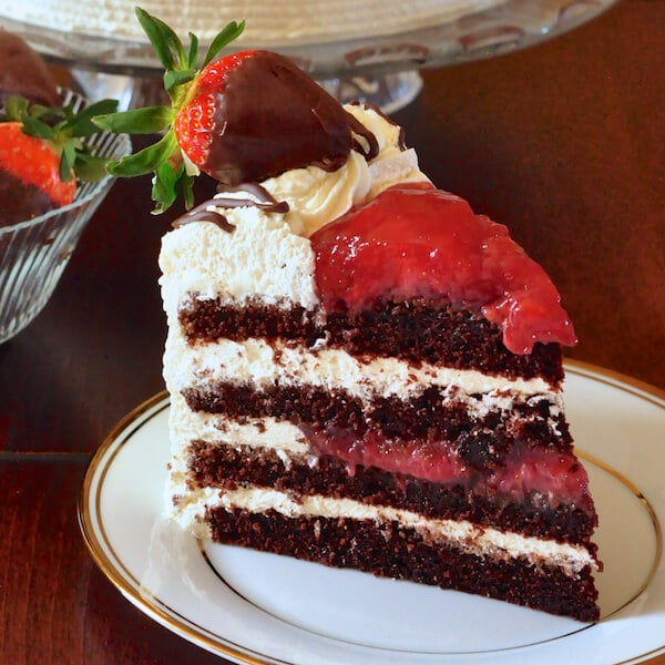 Strawberry Black Forest Cake a.k.a. Strawberry Screech Black Forest Cake