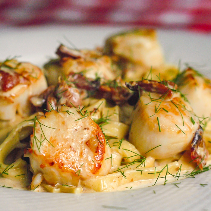 Pan Seared Scallops with Bacon Fennel Cream Sauce. Original photo from 2007.