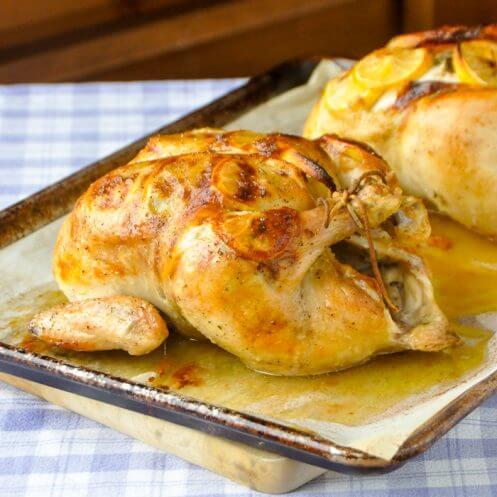 Lemon Garlic Roast Chicken with Sage