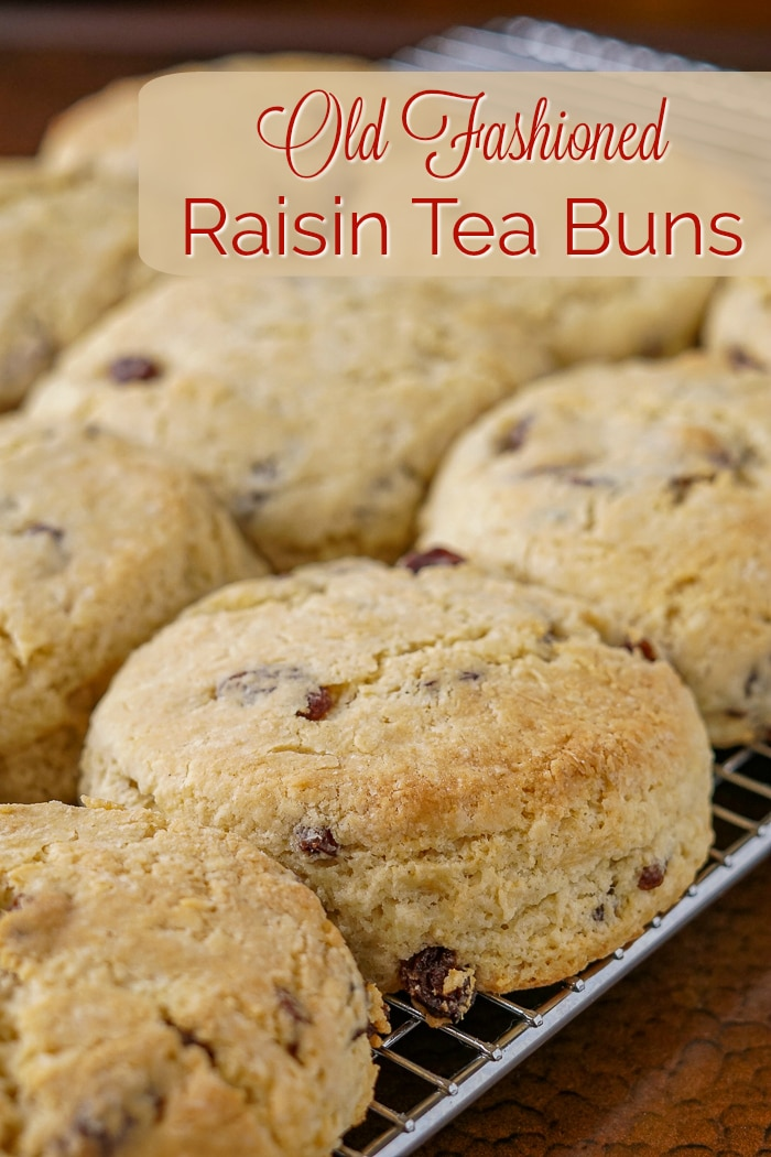 Newfoundland Raisin Buns image with title text for Pinterest