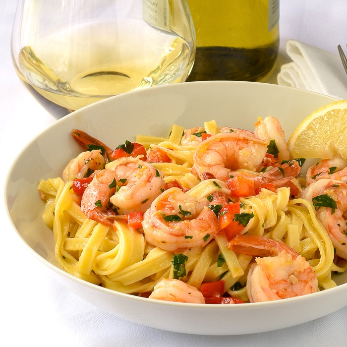 Super Simple Shrimp Scampi close up photo of a single serving in a white bowl