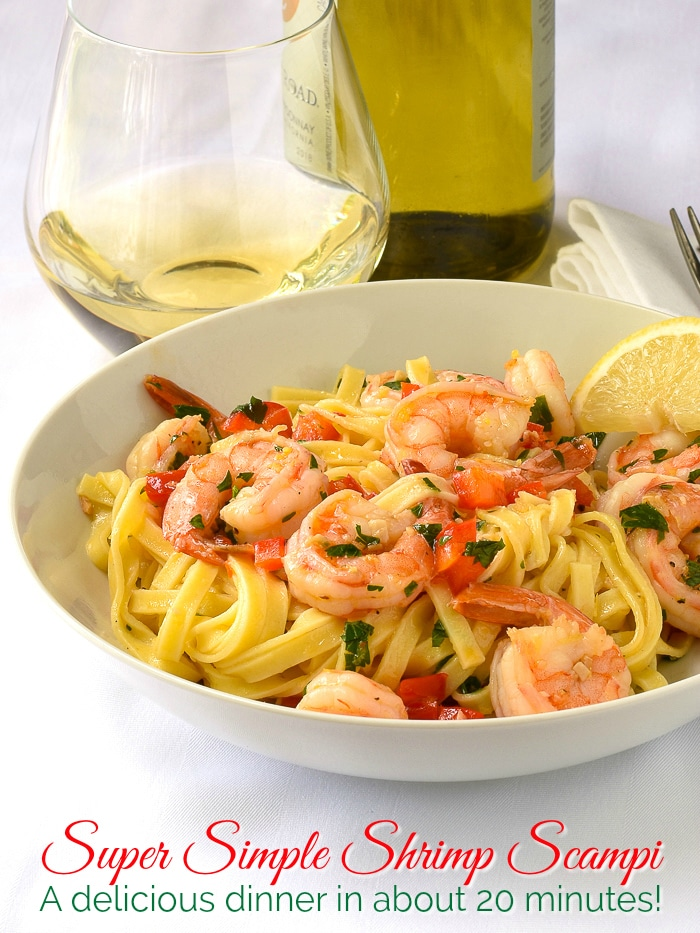 Super Simple Shrimp Scampi photo with title text added for Pinterest
