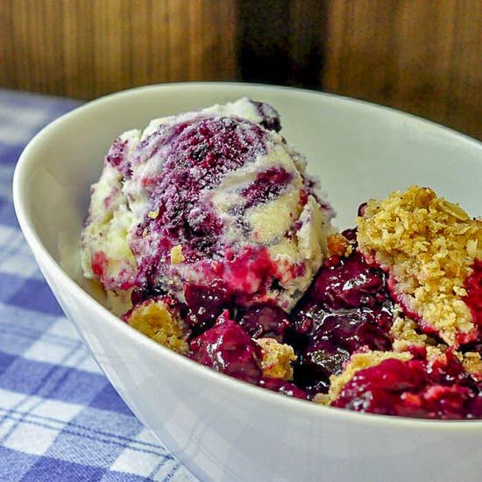 Blueberry Ripple Ice Cream on Bumbleberry Crumble