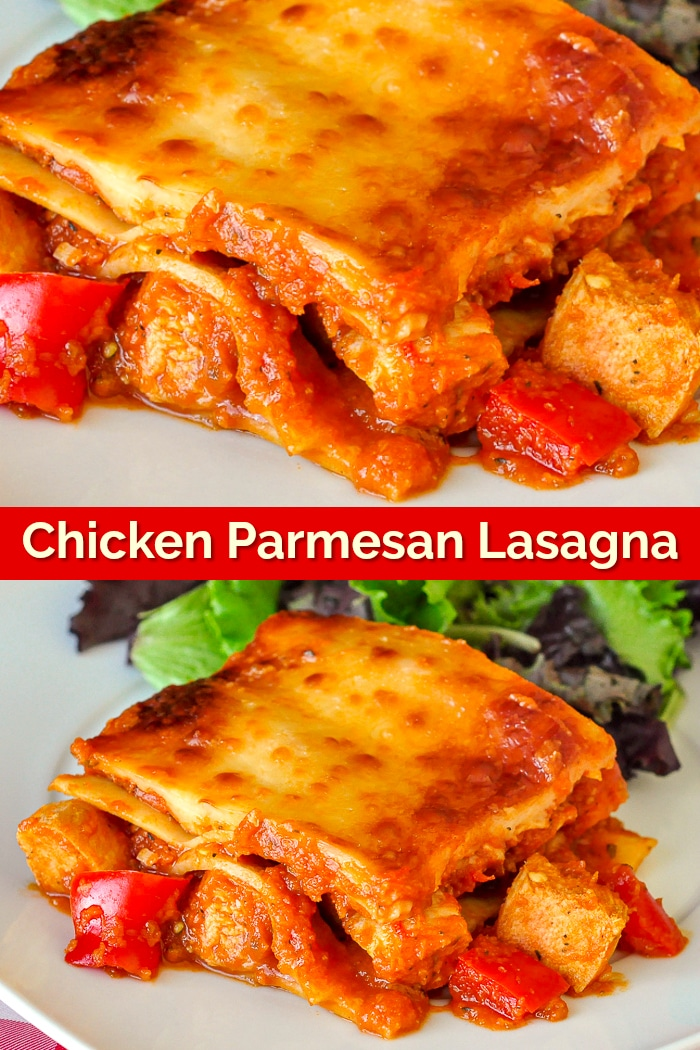 Chicken Parmesan Lasagna photo collage with title text for Pinterest