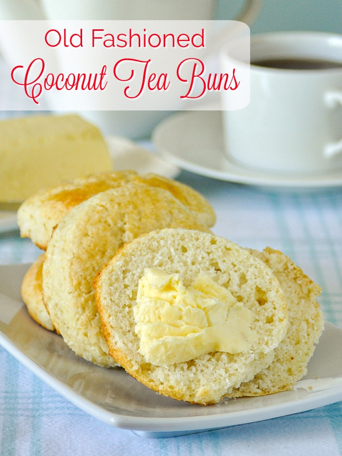 Coconut Tea Buns photo with title text added for Pinterest