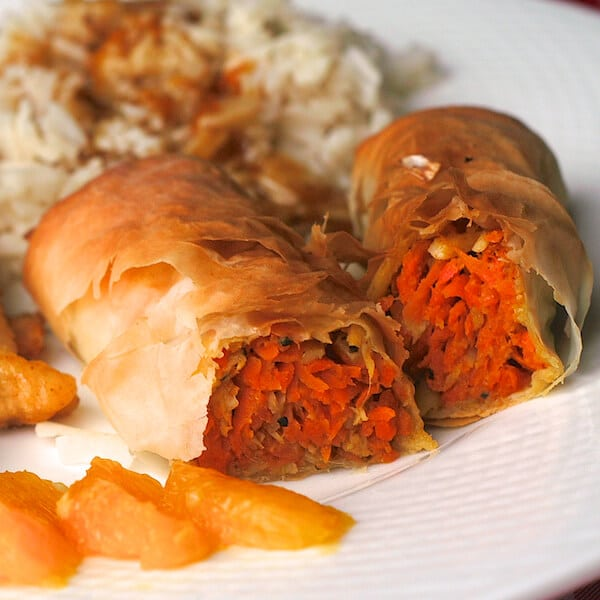 Baked Ginger Carrot and Parsnip Spring Rolls - Rock Recipes
