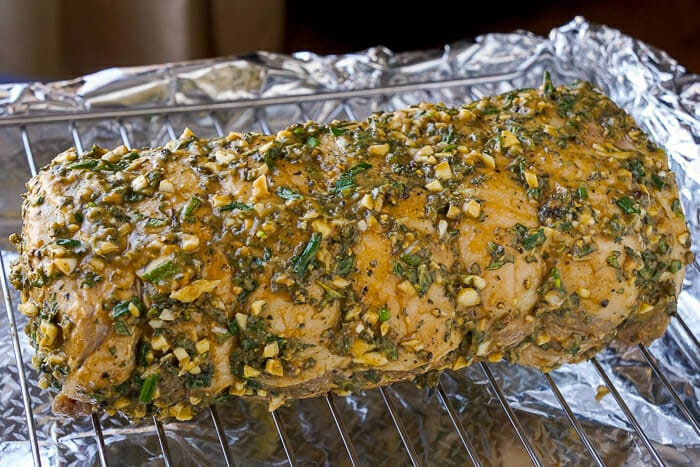 Herb Crusted Pork Loin ready for the oven