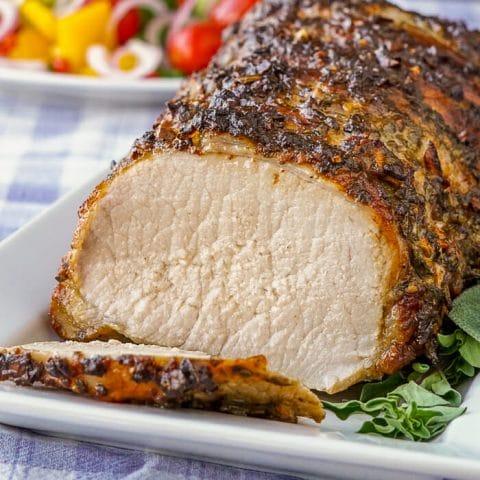 Herb Crusted Pork Loin, sliced