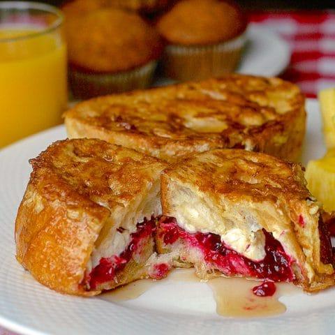 Partridgeberry Cream Cheese Stuffed Belgian Toast