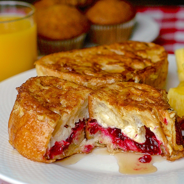 Partridgeberry Cream Cheese Stuffed French Toast close up featured photo