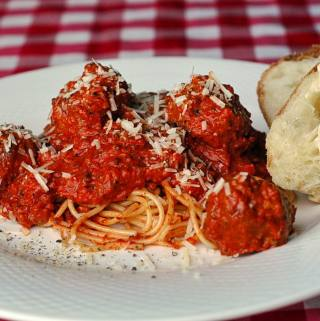 Spaghetti and Moose Meatballs Bolognese