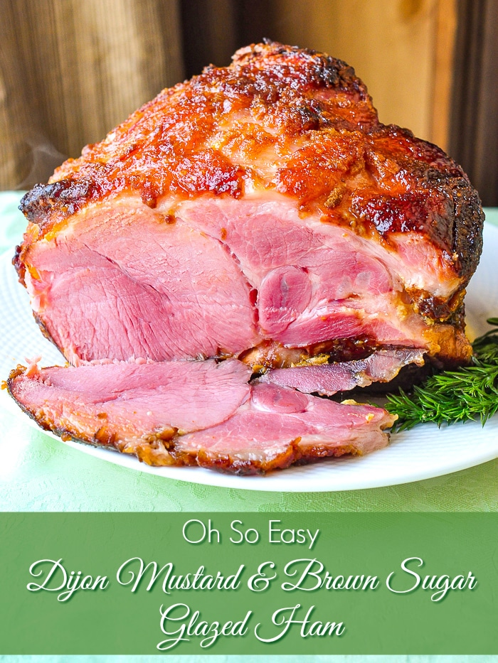 Oh So Easy Dijon Mustard and Brown Sugar Glazed Ham photo of entire ham being sliced