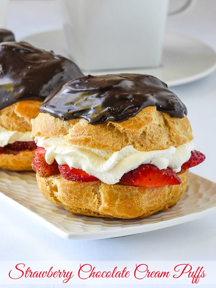 Strawberry Chocolate Custard Cream Puffs photo with title text added for Pinterest