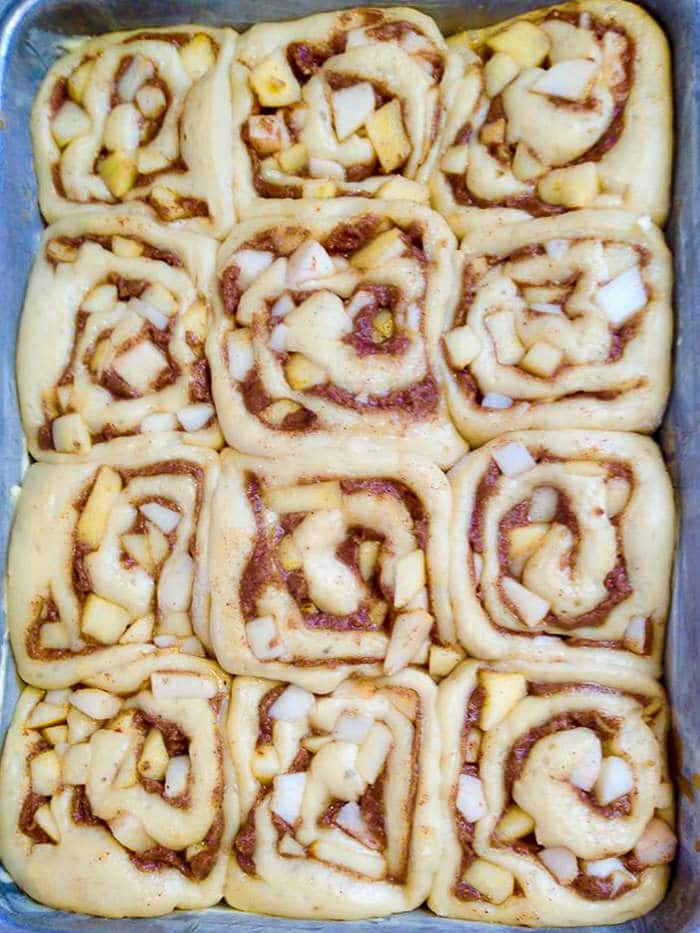 Apple Cinnamon Sticky Buns - rising before baking