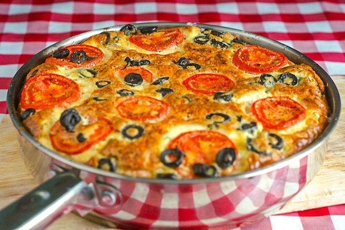 Ham and Cheddar Frittata widww shot of full pan with finished frittata