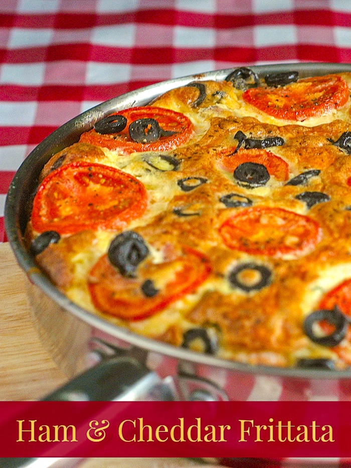 Ham and Cheddar Frittata image with title text for Pinterest