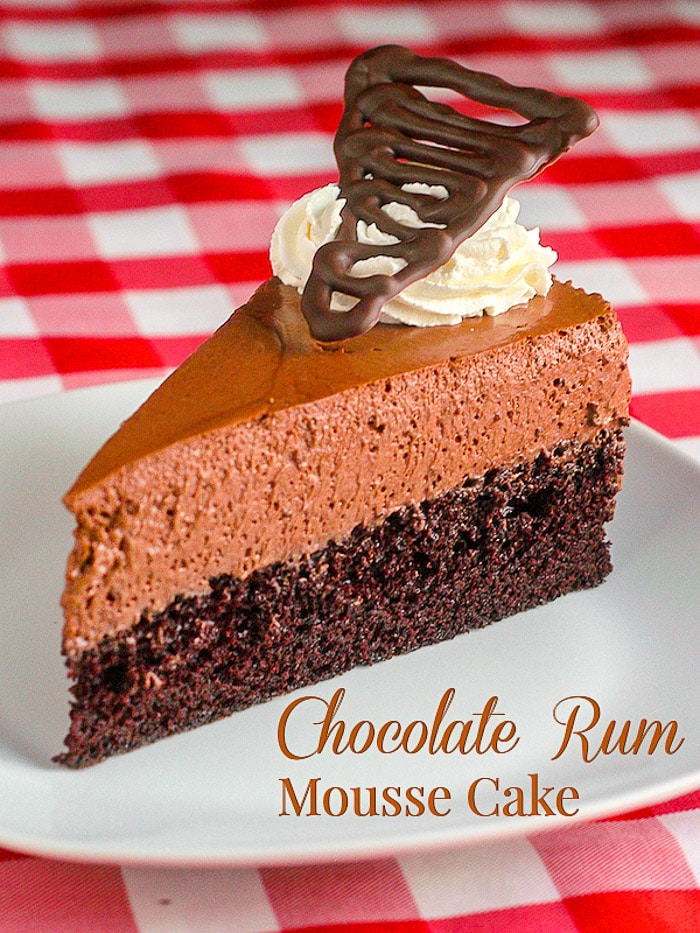 Ragged Rock Chocolate Rum Mousse Cake photo with title text for Pinterest
