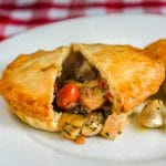 Roasted Vegetable Chicken Pot Pie close up photo