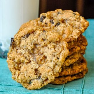 The Best Chewy Oatmeal Cookies close up square cropped feature image