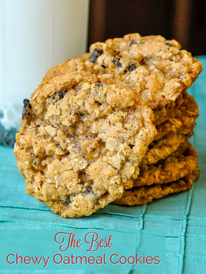 The Best Chewy Oatmeal Cookies photo with title text for Pinterest