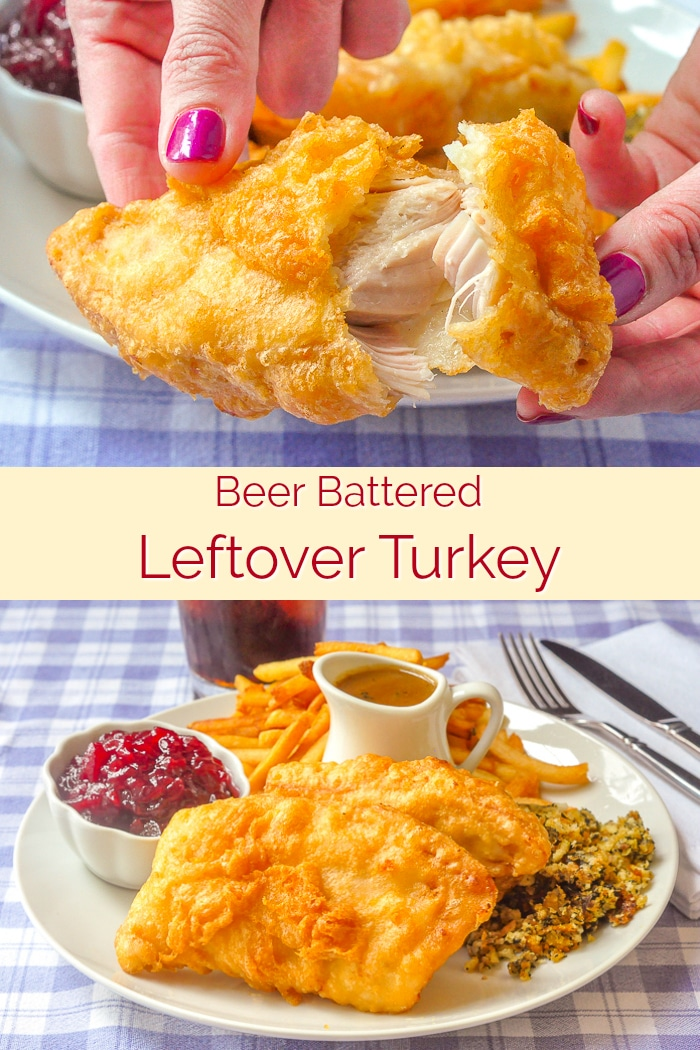 Beer Battered Deep Fried Turkey photo collage with title text for Pinterest