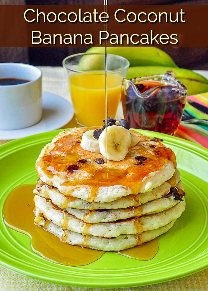 Chocolate Coconut Banana Pancakes image with title text for Pinterest