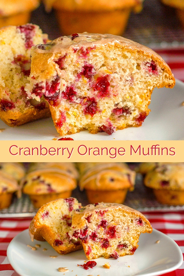 Cranberry Orange Muffins photo with title text for Pinterest