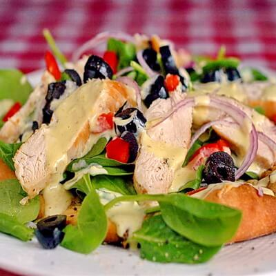 Chicken and Spinach Pizza Salad with Lemon Dijon Dressing - Rock ...