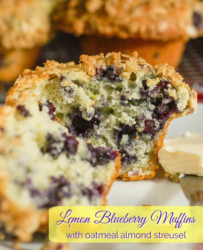 Lemon Blueberry Muffins with oatmeal almond streusel photo with title text for Pinterest