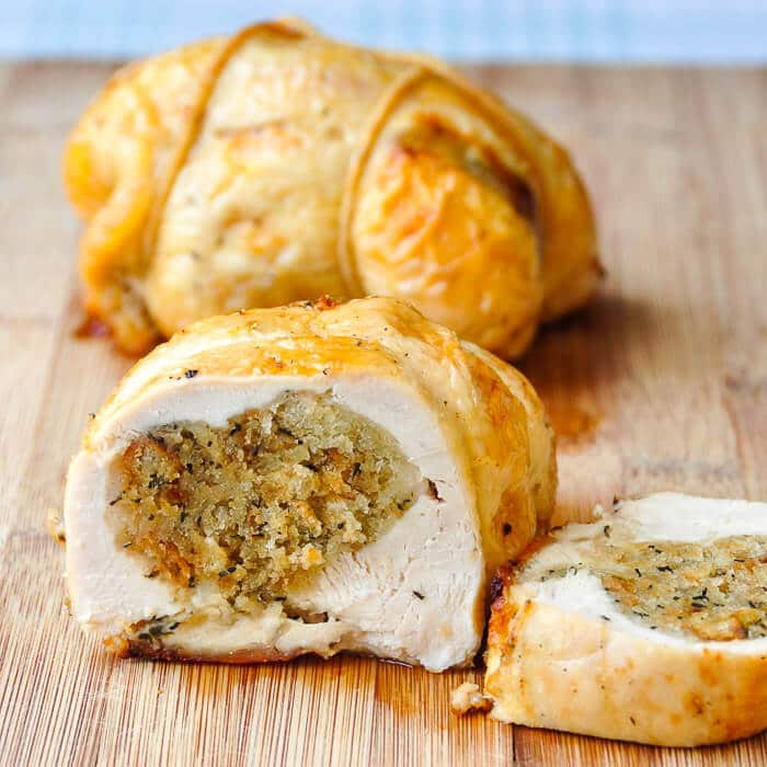 Newfoundland Dressing stuffed chicken breasts