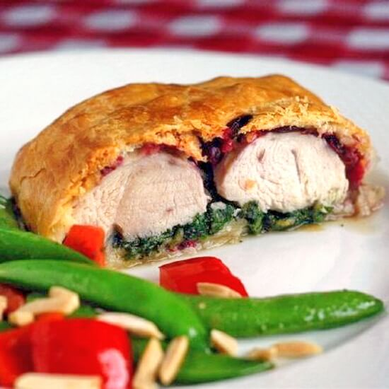 Turkey Cranberry and Spinach Wellington