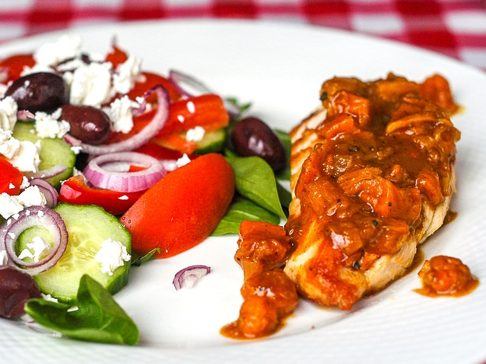 Bakeapple Peach Ginger Chutney on grilled chicken with side salad