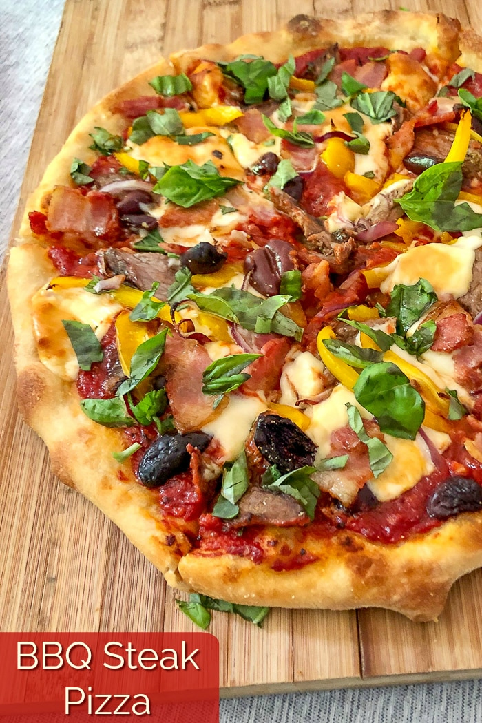 Barbecue Steak Pizza photo with title text for Pinterest