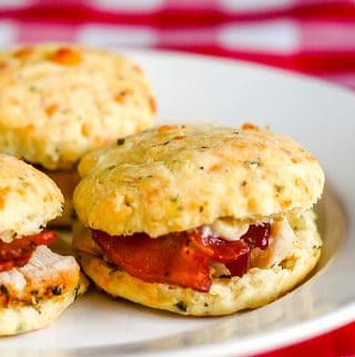 Cheese Garlic and Herb Scone Club Sandwiches close up image of a single sandwich