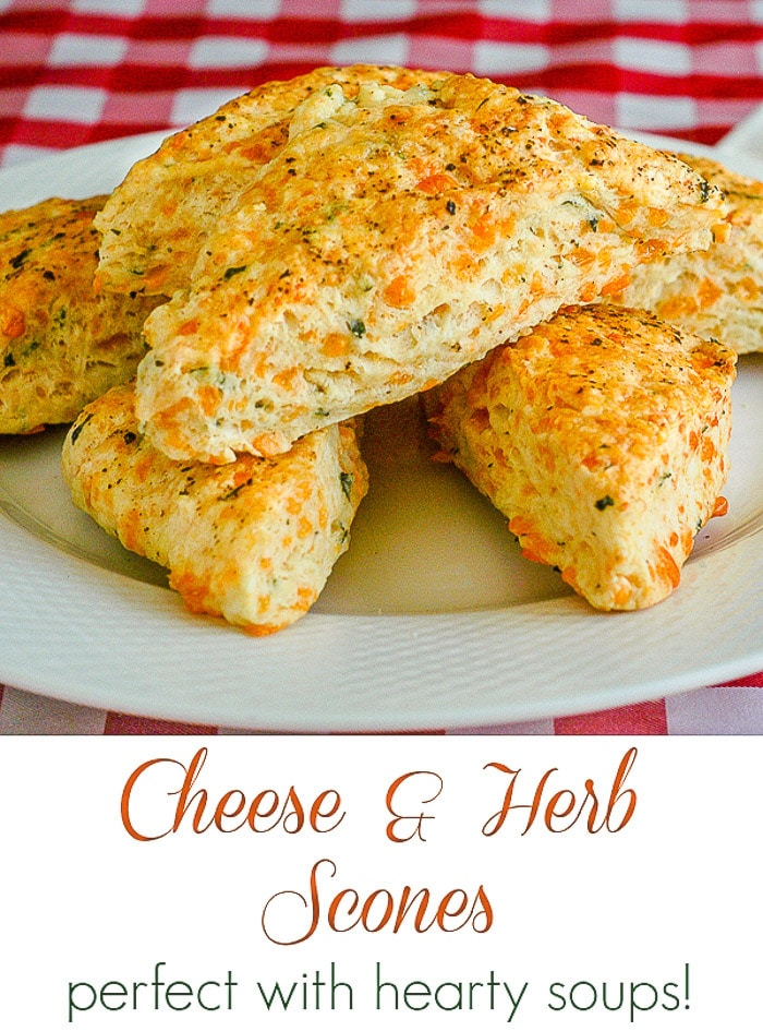 Cheese and Herb Scones image with title text for pinterest