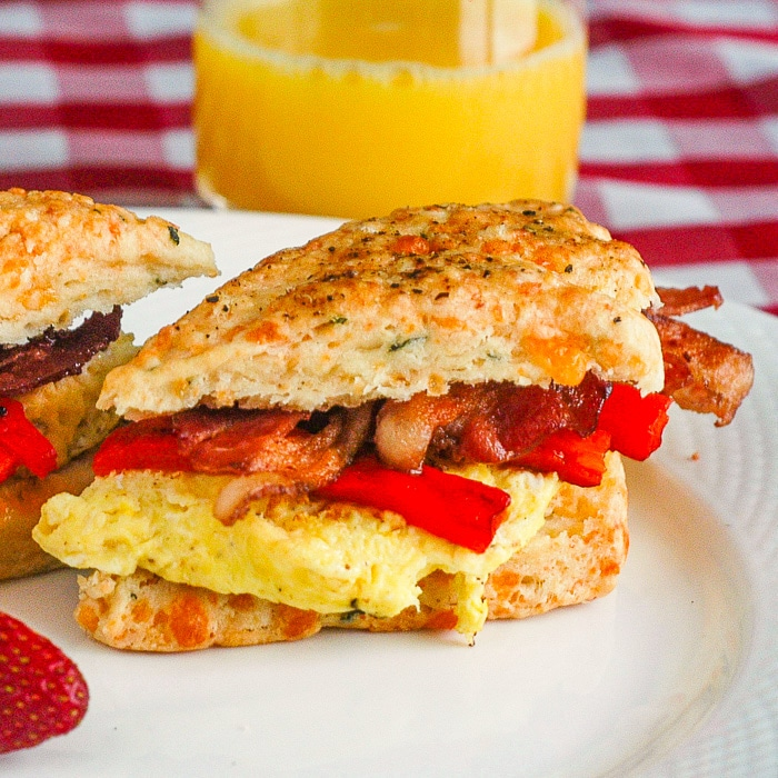 Cheese and Herb Scones Breakfast Sandwiches