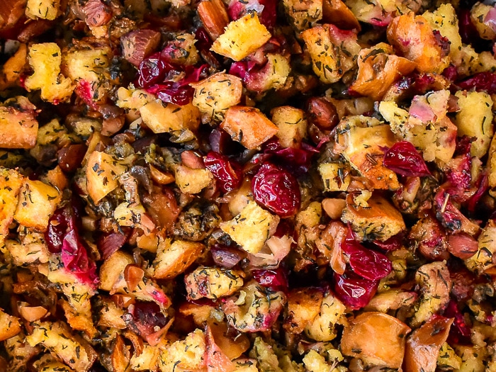 Close up photo of Herb Cranberry Stuffing