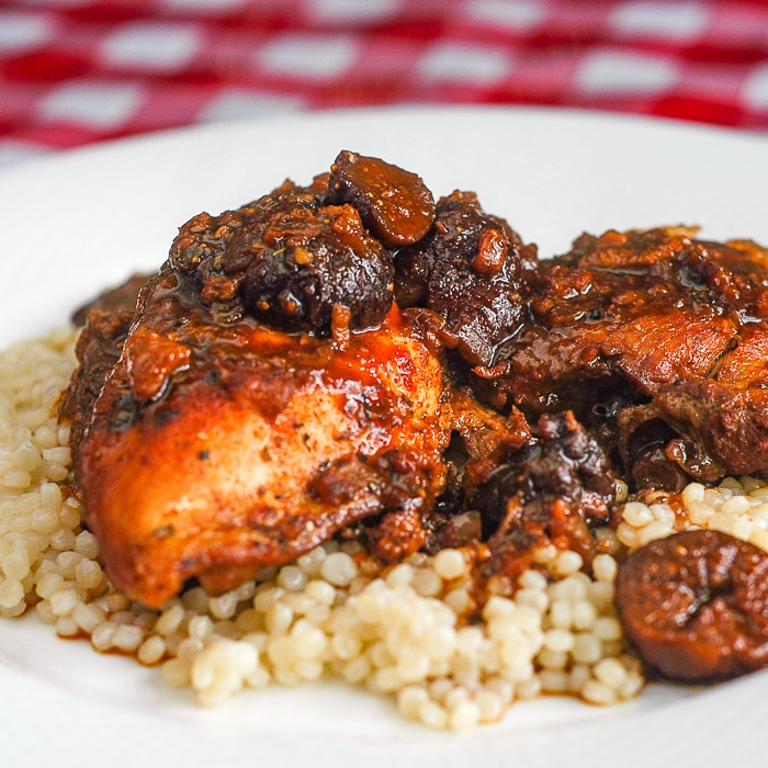 Close up photo of Moroccan Chicken on a bed of couscous