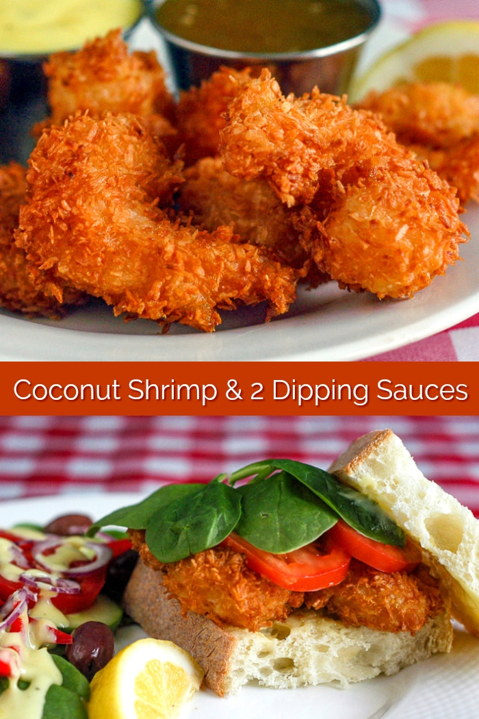Coconut Shrimp photo collage with title text for Pinterest