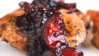 Blueberry Plum Chutney on Pan Seared Pork Chops