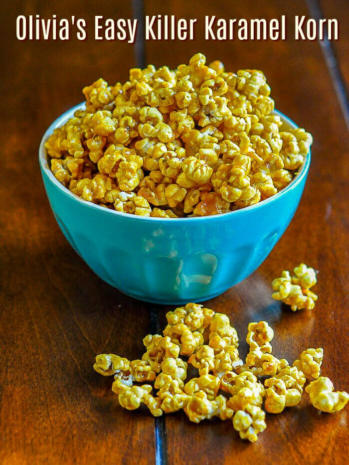 Easy Caramel Popcorn image with title text
