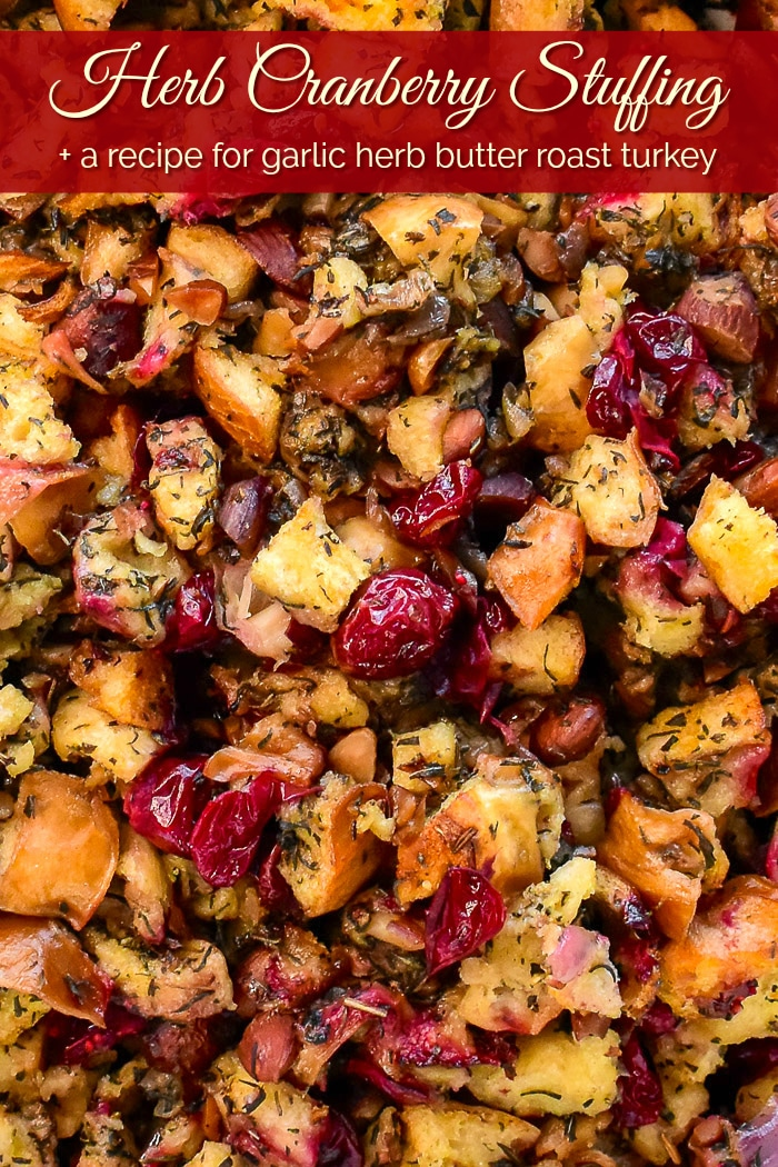 Herb Cranberry Stuffing overhead close up photo with title text added for Pinterest