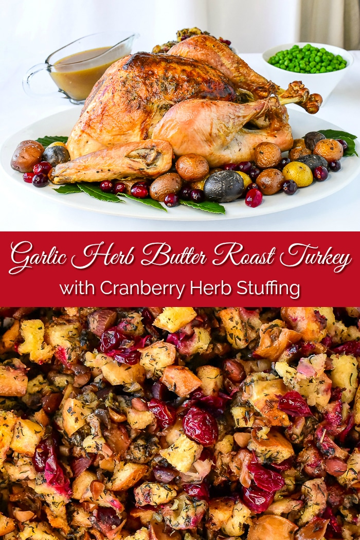Herb Cranberry Stuffing with roast turkey collage with title text added for Pinterest