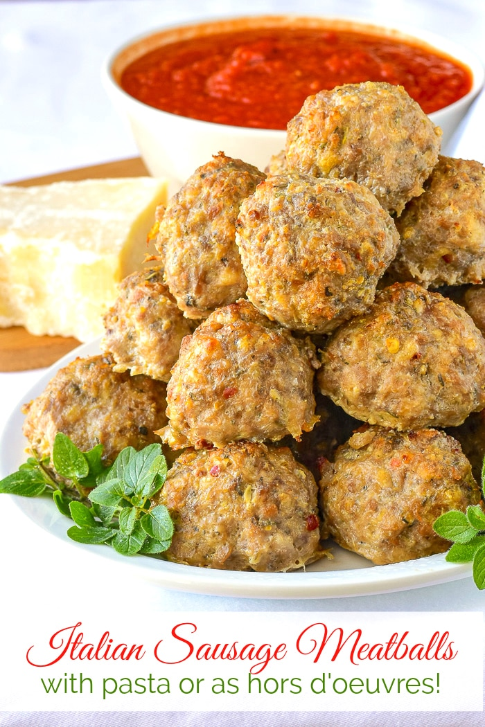 Italian Sausage Meatballs photo with title text added for Pinterest