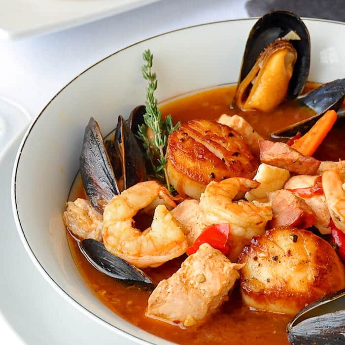 Manhattan Seafood Chowder with Chorizo & Roasted Vegetables