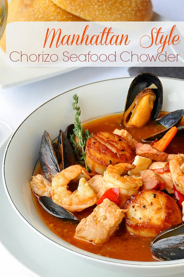 Manhattan Seafood Chowder with Chorizo & Roasted Vegetables. This outstanding seafood chowder is a really indulgent, celebration meal all in itself. #seafoodrecipes #fish #seafoodsoup