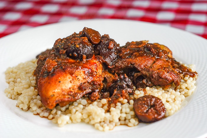 Moroccan Chicken photo of a single serving on a white plate