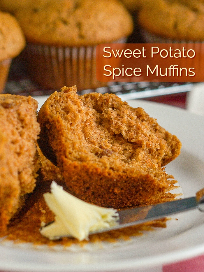 Sweet Potato Spice Muffins image with title text for Pinterest