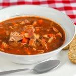 Turkey Bacon Tomato Soup close up shot filled soup bowl