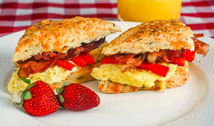 Two Cheese and Herb Scones Breakfast Sandwiches